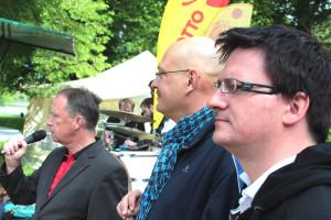 Hartmut Lohß, Heiko Kastner und Veikko Dähne eröffnen die 35. Deutsche Meisterschaft Doublette in Halle