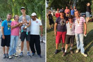 Siegertreppchen bei der LM Tireur (links) für Step, Jens, Paul mit Karl und Fethi; bei der LM Tête (rechts) für Patrick, Tangi und Jens
